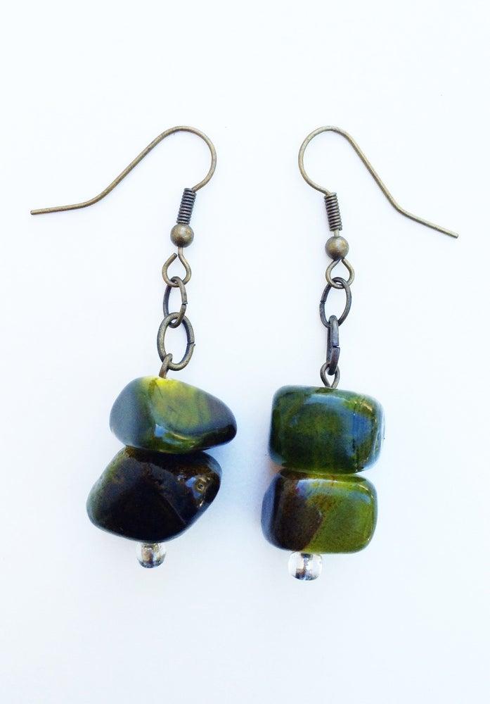 Image of Green Stone Earrings