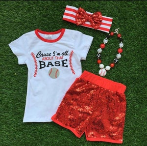 "Image of ""Cause I'm All About that Base"" Girl Baseball Outfit, Sequin Shorts, Baby Girl Toddler, Cheer"