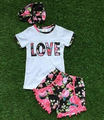 Image of Love Boho Babe Top & Floral Short with Pink Pom Pom fringe, Cousin Sister Set