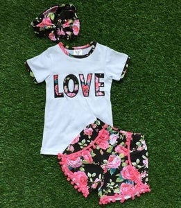 Image of Love Boho Babe Top & Floral Short with Pink Pom Pom fringe, Cousin Sister Set