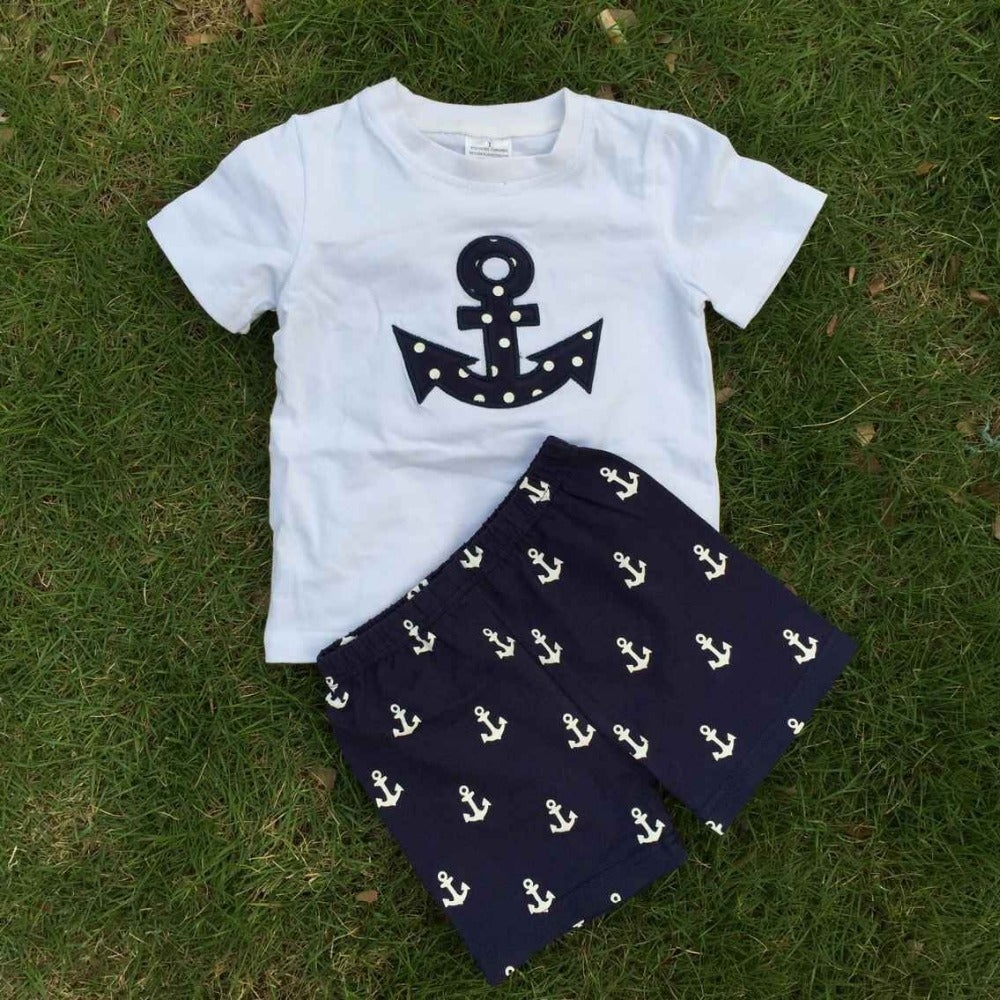Image of Boy Sail Away Anchor Outfit: Anchor Shirt & Blue Shorts, 4th of July, Baby Boy, Toddler, Sister Set