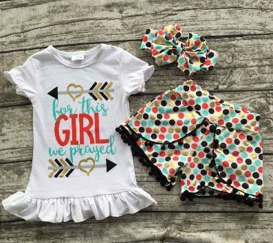 Image of For This Girl We Prayed Boho Babe Top & Polka Dot Short with Pom Pom fringe, Boho Toddler