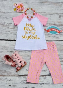 Image of My Mom is My Stylist Little Girl 2 Piece Outfit, Pink and Gold, Pink Capri Pants, Baby Girl Toddler