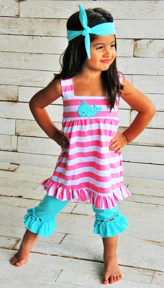 Image of Whale of a Time Pink & White Strip Tunic Tank Top, Blue Capris & Whale Appliqué, Beach, Sisters