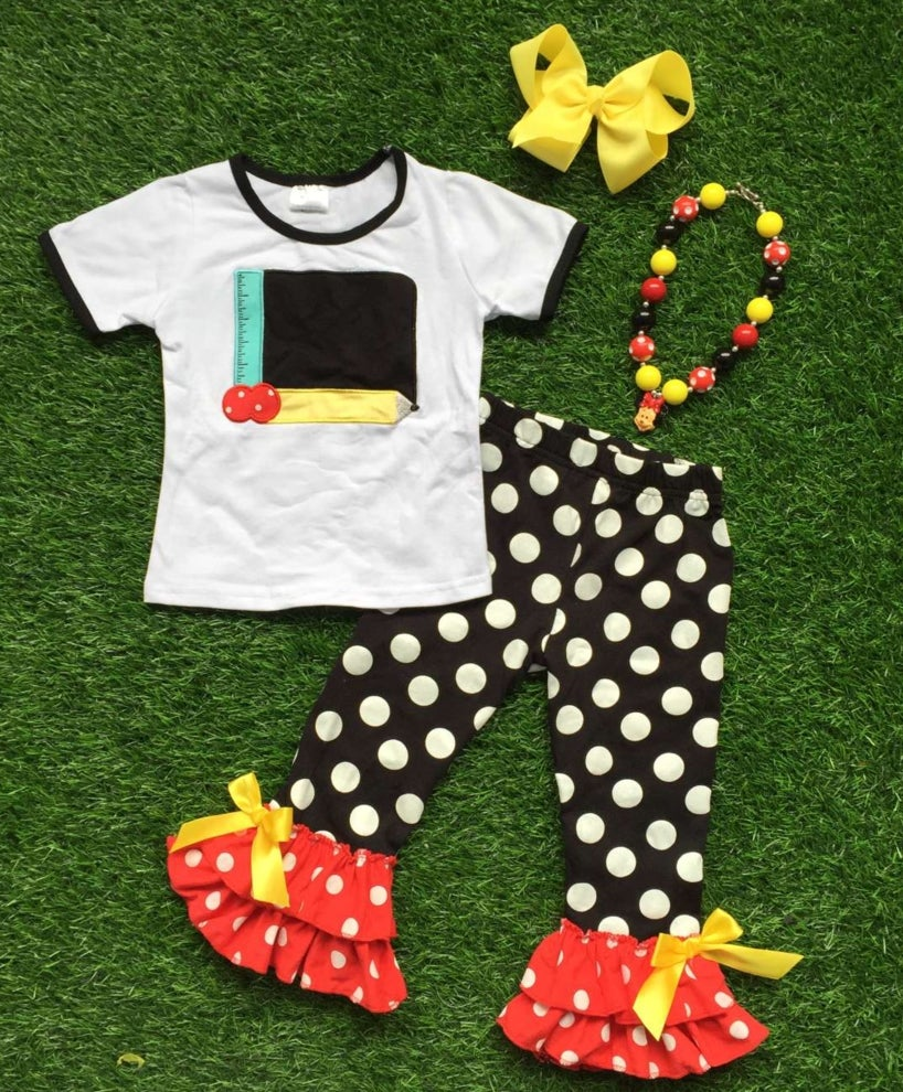 Image of Back to School Babe, Chalkboard School Outfit, Little Girl First Day of School Top & Ruffle Pant Set