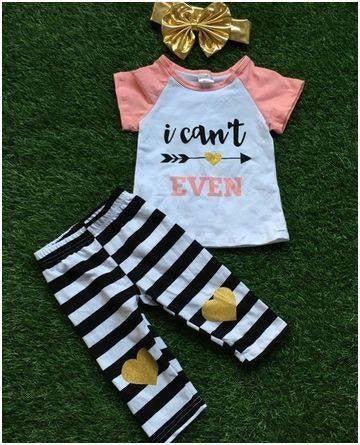 Image of I Can't Even Outfit, Black & White Capris, Gold Heart Patches, Baby Toddler Little Girl Outfit
