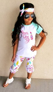 Image of Never Give Up Feather Boho Top & Colorful Feather Print Ruffle Capris, Boho Baby Toddler Girl