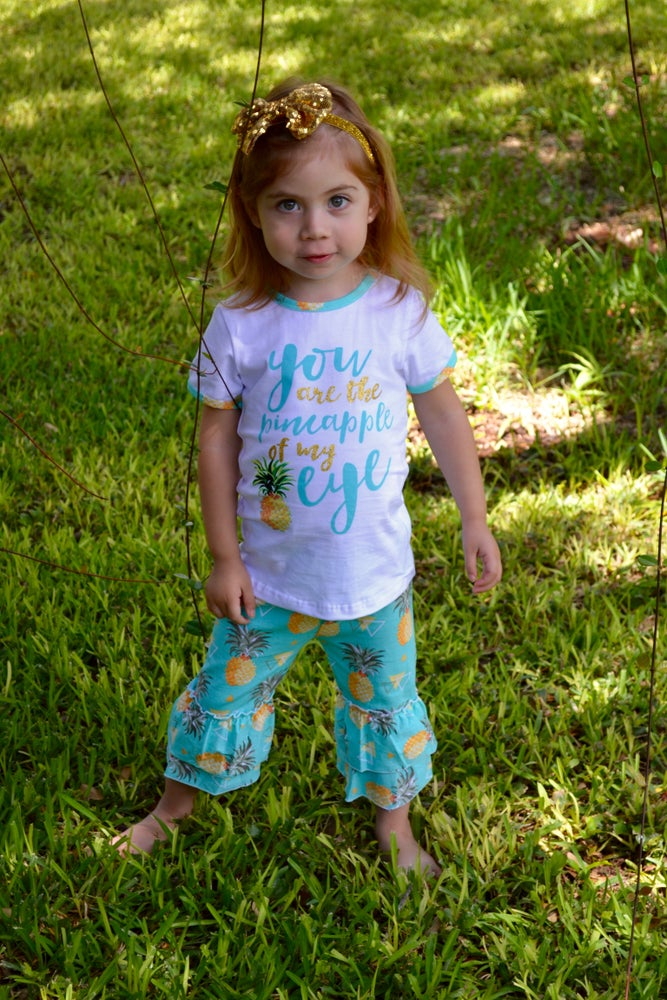 Image of You are the Pineapple of My Eye, Baby Toddler Girl Outfit, Pineapple Shirt, Ruffle Capri Pants
