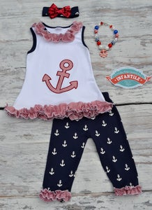 Image of Anchor's Away Tunic Top & Capri Pant Set, Nautical Baby Toddler Girl Summer Outfit, Red White Blue