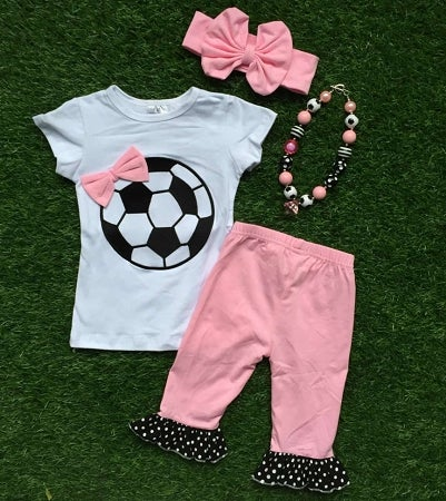 Infantile Soccer Sweetie Top Amp Ruffle Capris Pink And