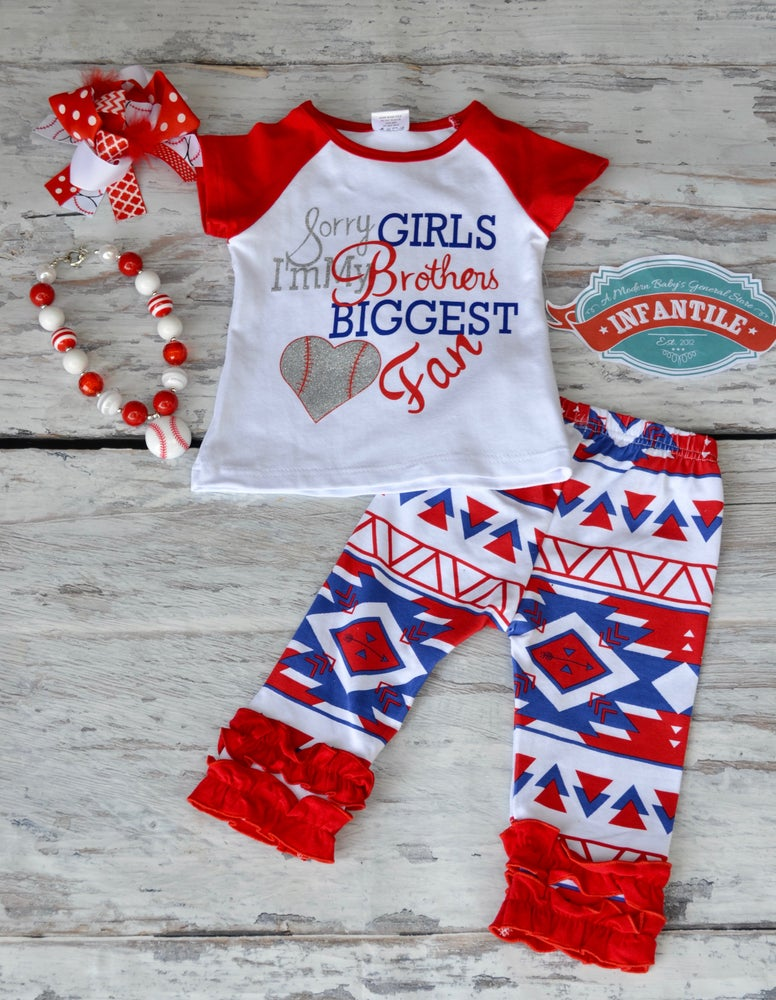 Image of Sorry Girls I'm My Brother's Biggest Fan, Little Girl Toddler Baby Outfit, Ruffle Capri Pants