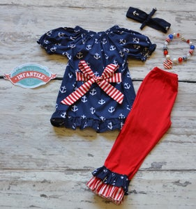 Image of Sailor Sweetie Anchor Top & Pant Set, Nautical Baby Toddler Girl, Red White Blue, Fourth of July