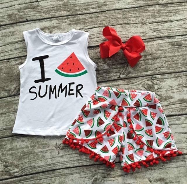 Image of I Love Summer Watermelon Boho Babe Tank Top & Shorts with Pom Pom Fringe, Boho Baby Toddler