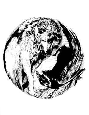 Image of Raven and Wolf ying yang original art