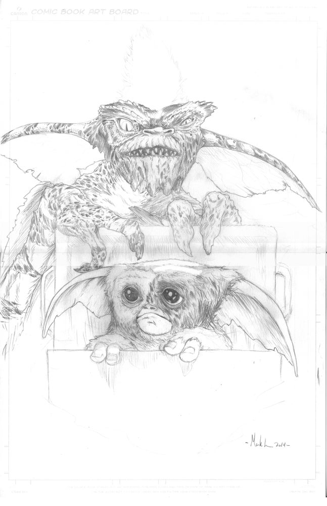 Image of Gizmo and Stripe original pencil art
