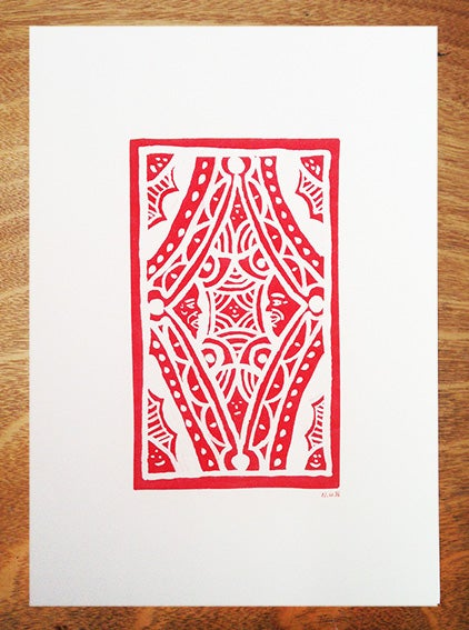 Image of Red pattern print - A3 Risograph Print