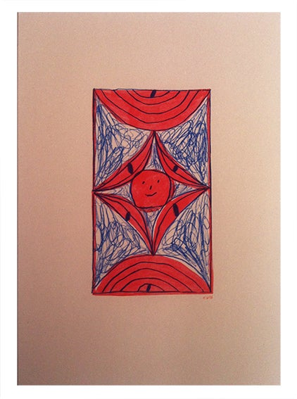 Image of Half circle, diamond and smiley face - A3 Risograph print.
