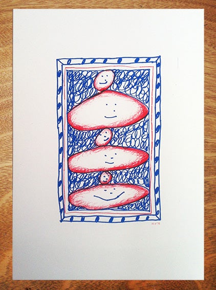 Image of Head stack - A3 Risograph print.