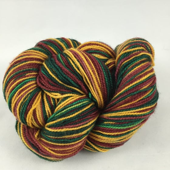 Image of Yuletide: Superwash Strong Heart or Boot Strap BFL Self Striping Sock Yarn