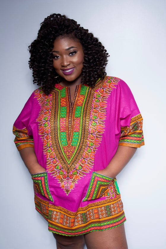 "Image of Rose HANDSTONNED Dashiki- "" PLUS SIVE AVAILABLE"""