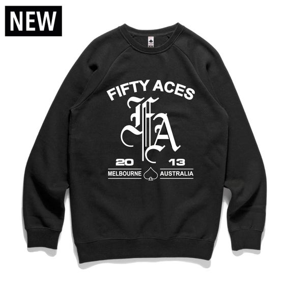 "Image of FIFTY ACES ""WHAT WE ABOUT"" SWEATSHIRT BLACK"