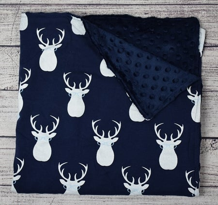 Image of Oh Deer Dude Minky Baby Boy Blanket, Deer Head Print, Minky & Satin Ruffle Trim, Gift, Welcome Baby
