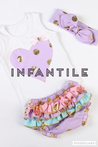Image of Purple & Gold Polka Dot Heart Tank & Ruffle Bloomers, Headband Included, Baby Summer Beach Outfit