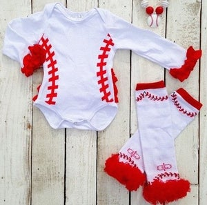 Image of Baseball Cutie, Baby Girl Baseball Onesie Outfit with Ruffles, Matching Baseball Leg Warmers