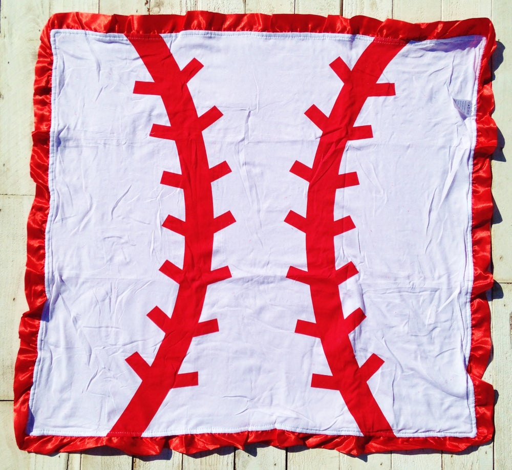 Image of Baseball Super Star White & Red Baseball Minky Baby Blanket, Satin Ruffle, Softball, Gift, Photos