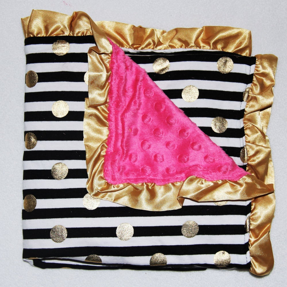 Image of Gold Dot Glamour Minky Baby Blanket: Black & White Stripe & Hot Pink Minky, Baby Shower Gift, Bling