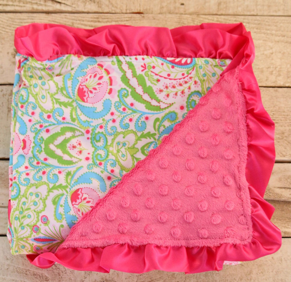 Image of Pretty Paisley Minky Baby Blanket: Pink Blue Green, Fuchsia Bright Pink, Satin Trim, Baby Shower