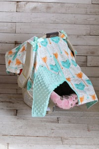 Image of Boho Baby Car Seat Canopy, Multi-Color Feather Print, Mint Minky, Satin Ruffle, Gift
