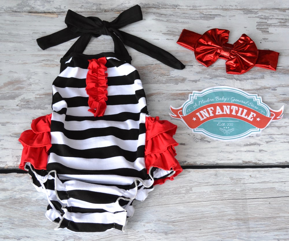 Image of Boho Black & White Stripe with Red Ruffles Baby Romper, Baby Toddler Summer, Ruffle Butt