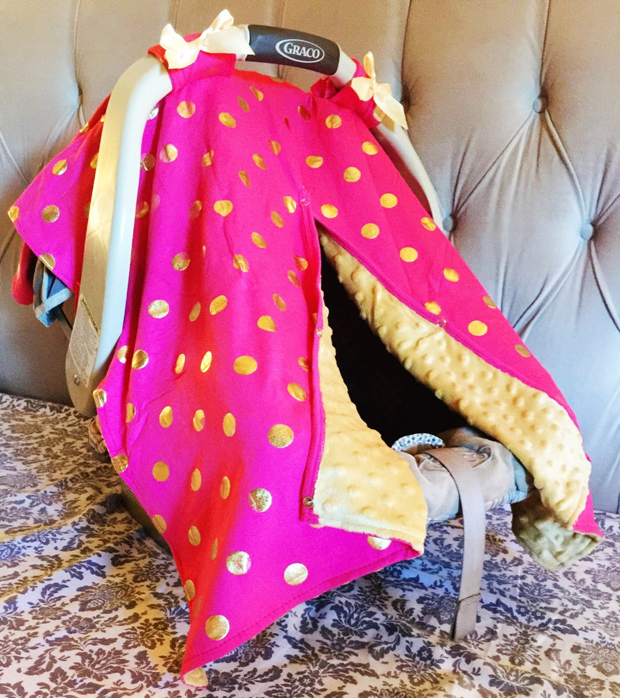 Image of Gold Dot Glamour Minky Baby Car Seat Canopy Cover: Hot Pink Minky, Baby Shower Gift, Ready to Ship