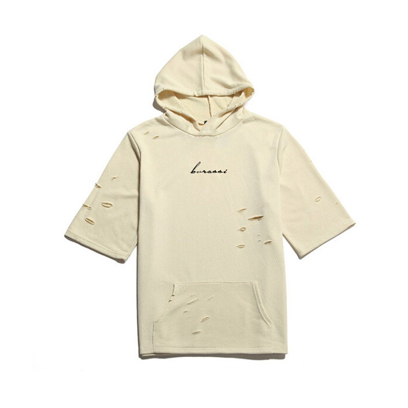 Image of Distressed Beige Script Hoodie