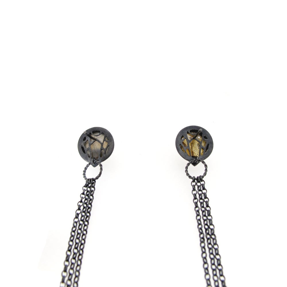 Image of {NEW One off} Nautilus Spyglass Labradorite gemstone long drop earrings