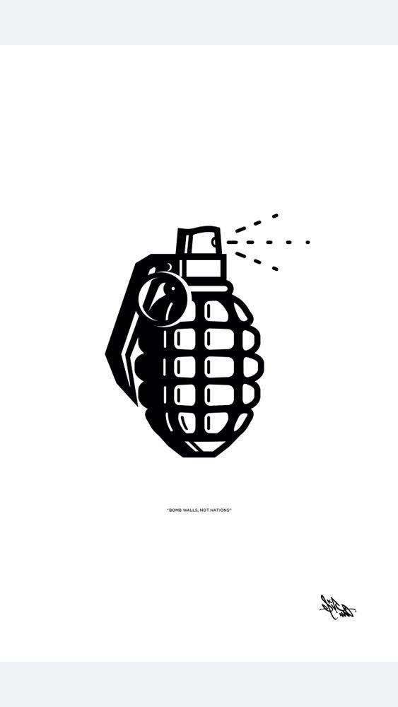 "Image of ""BOMB WALLS NOT NATIONS"" Art Print"