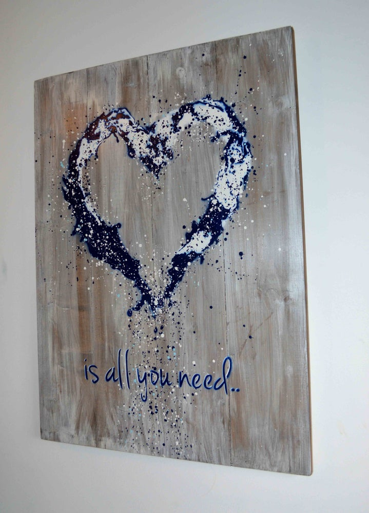 "Image of ""John Lennon was Right!"" Reclaimed Wooden Boards Blue"