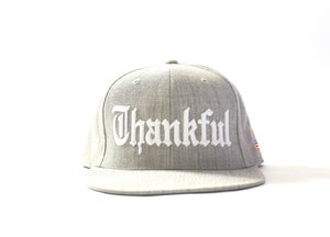 Image of OLD ENGLISH THANKFUL SNAPBACK (HEATHER GRAY)