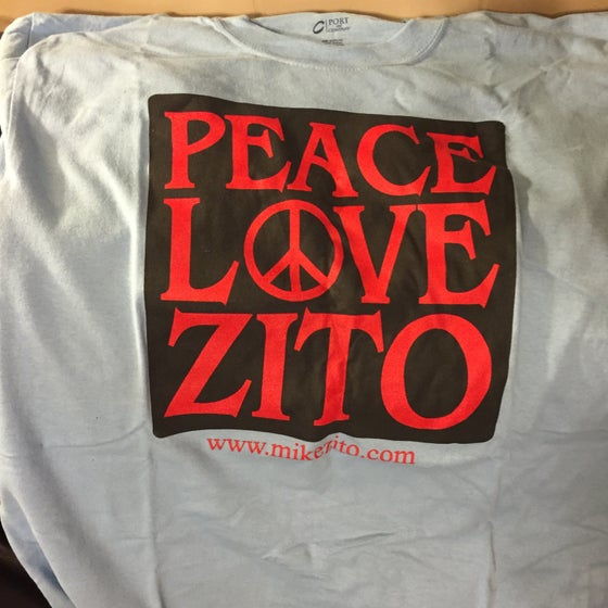 Image of PEACE LOVE ZITO (light blue) - MENS T-SHIRT