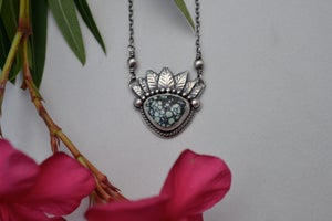 Image of Fairy Crown Queen of Leaves Necklace Sterling Silver and New Lander Chalcosiderite
