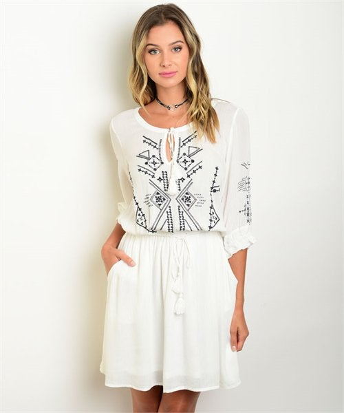 Image of White + Navy Embroidered Dress