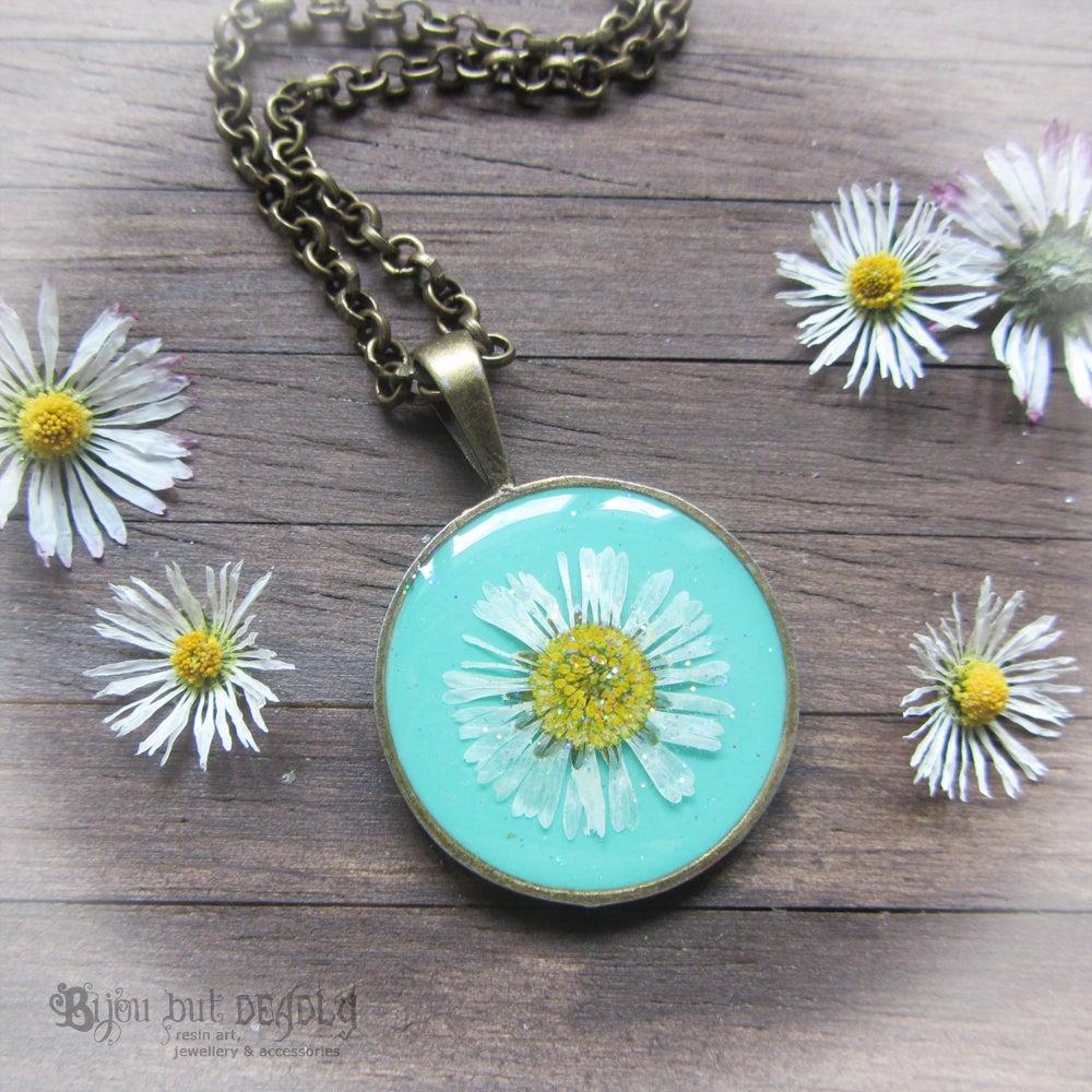 Image of Pressed Daisy Turquoise Pendant