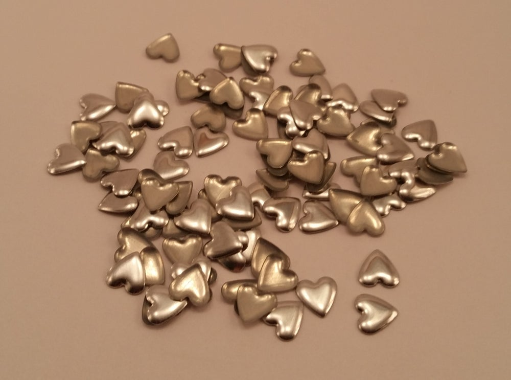 Image of Heart nail art studs (100 pcs) Gold or Silver 6x6mm