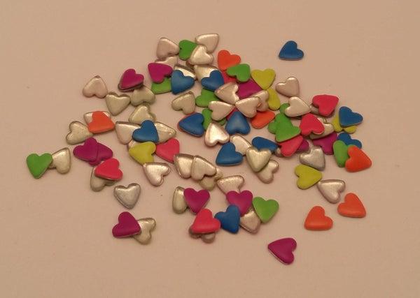 Image of Neon heart nail art studs (100 pcs) 5x4mm Mixed