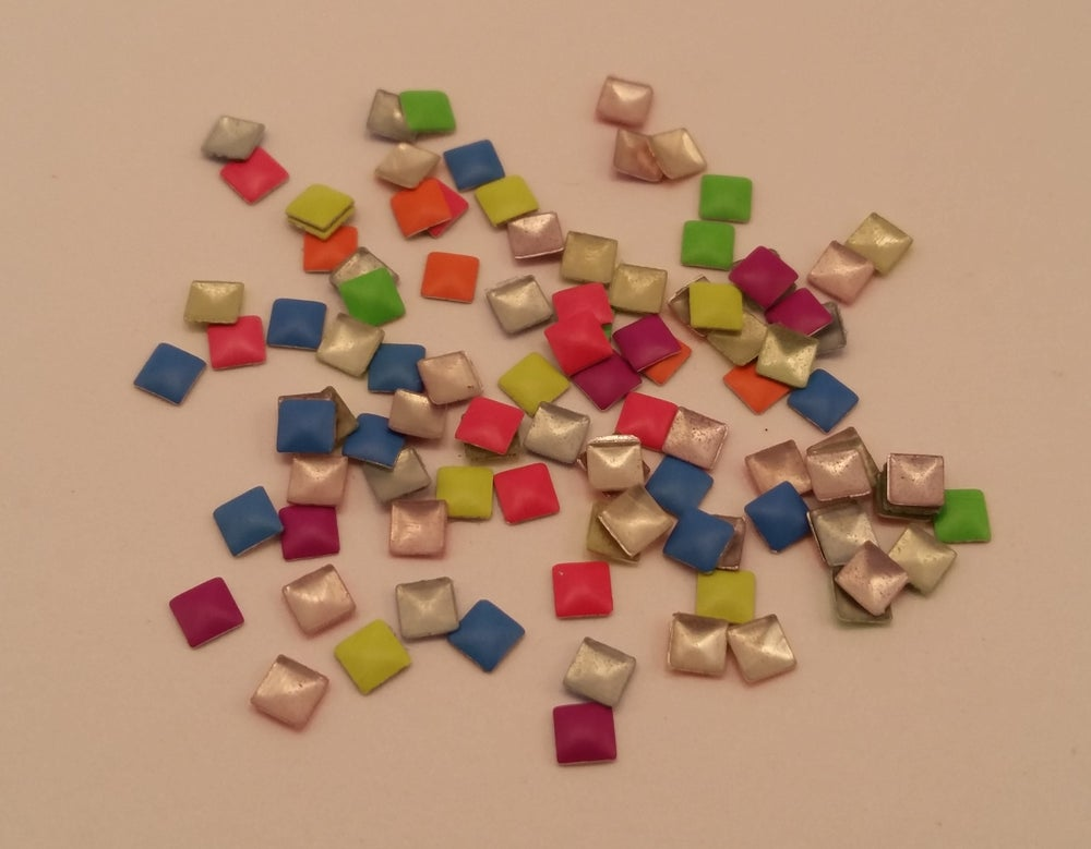 Image of Neon square & rectangle nail art studs (100 pcs) 3x3mm & 2x4mm Mixed colour