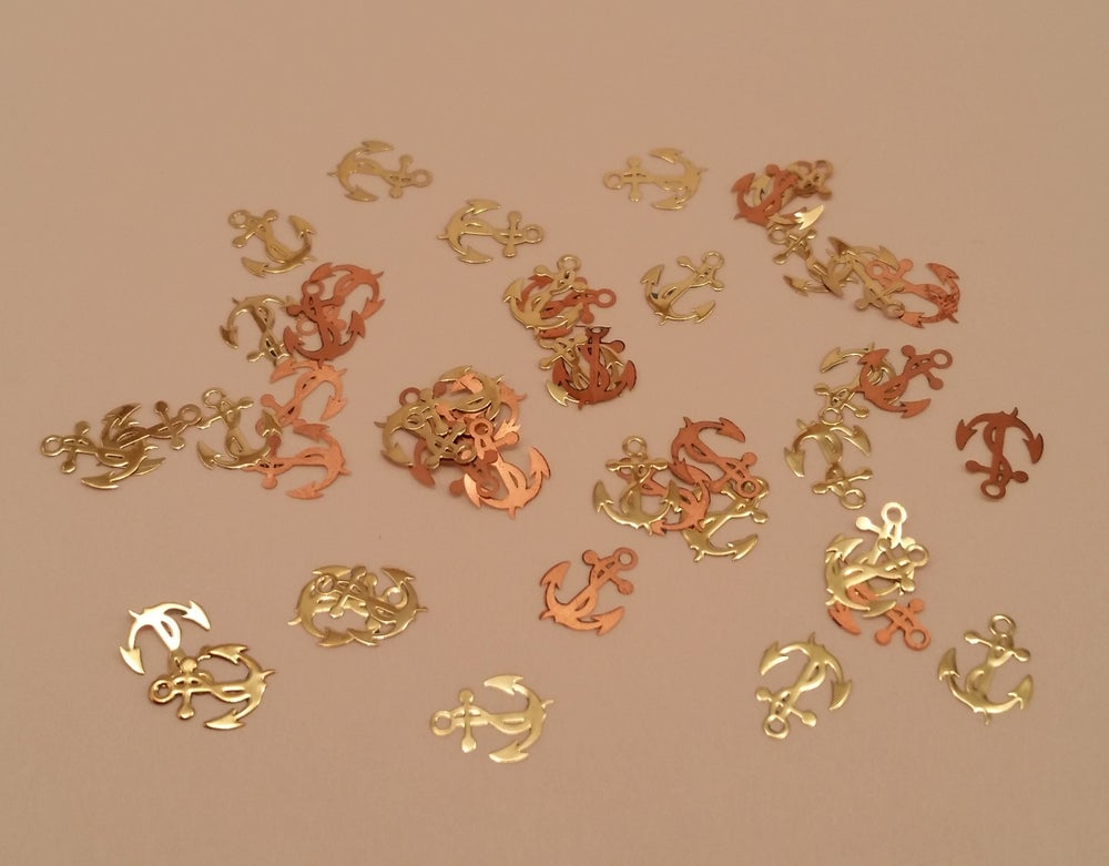 Image of Anchor metal nail slice (50 pcs) 7x6mm Gold or silver