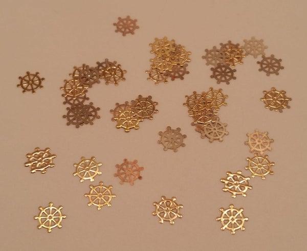 Image of Shipwheel metal nail slice (50 pcs) 5mm Gold
