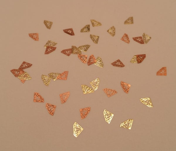 Image of Diamond metal nail slice (50 pcs) 5x4mm Gold