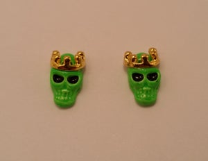 Image of King skull metal nail charms (2 pcs) 11x8mm Pink, green, yellow or black